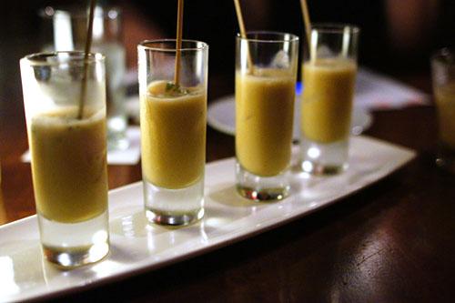 Ceviche Shot. Uni, Scallop, Pisco. Leche de Tigre