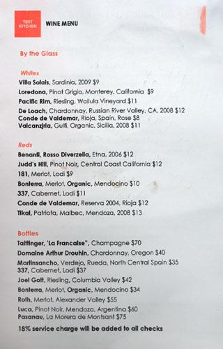 Test Kitchen (Ricardo Zarate) Wine List