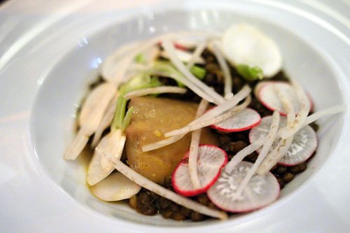 Poached Foie Gras, Green Lentils, Miso Broth, Turnips & Radish
