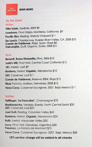 Test Kitchen (Baja Chefs) Wine List