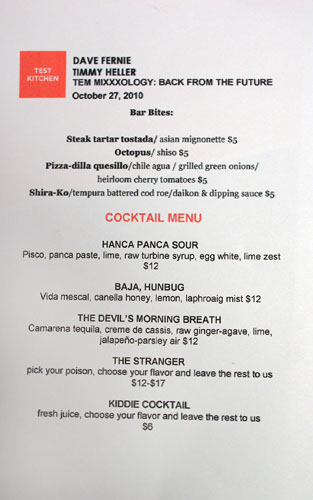 Test Kitchen (Baja Chefs) Cocktail List