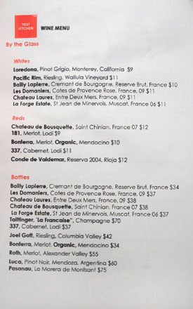 Test Kitchen (Alain Giraud) Wine List