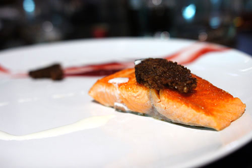 ocean trout. pumpernickel. lingonberry. creme fraiche.