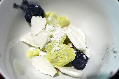 ube 'mochi'. coconut milk powder. palm sugar coconut shortbread. avocado ice cream. lime styrofoam.