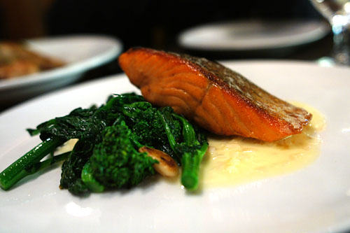 Roasted steelhead salmon, sautéed rapini, shallots, meyer lemon