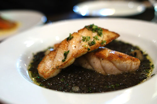 Seared Pacific sturgeon, beluga lentils, cippolini onions, and salsa verde