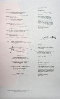 Moreton Dinner Menu