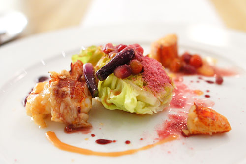 Lobster | pomegranate, slow poached lobster, coleman's farm butter lettuce, sweet onion, pomegranate hot and snow