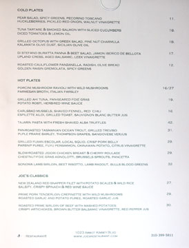 Joe's Chef's  La Carte Menu