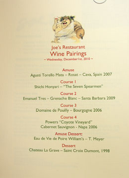 Joe's Chef's Tasting Menu Wine Pairings