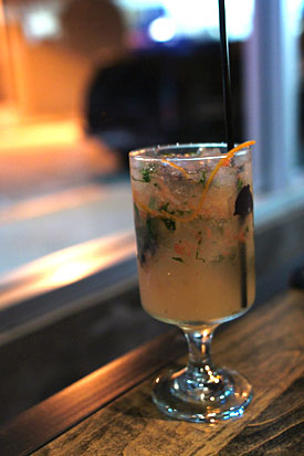 #18 - Krome Vodka, Chili-Anise Shrub, Lime, Grapefruit, Peychaud's Bitters, Thai Basil, Ginger Beer