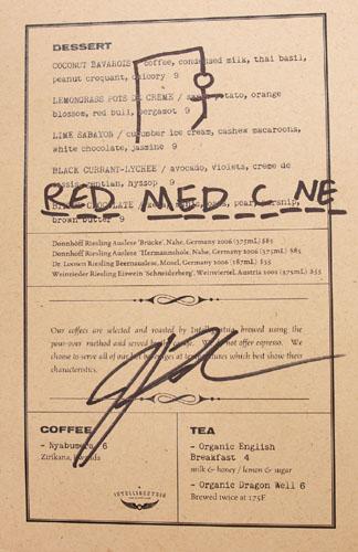 Red Medicine Dessert Menu