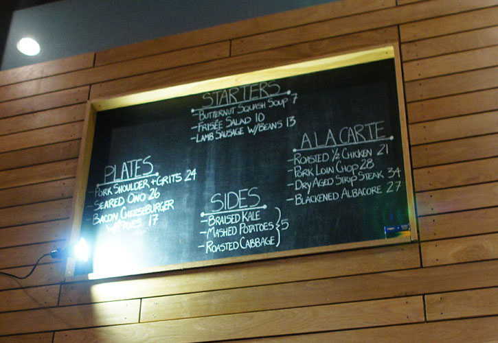 Salt's Cure Menu Board