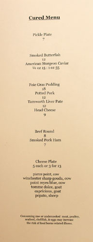 Salt's Cure Cured Menu