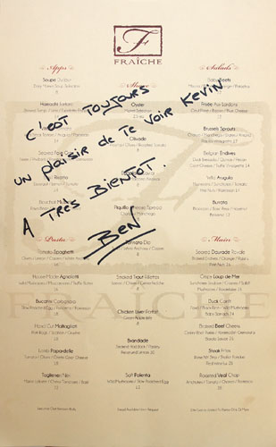 Fraiche Dinner Menu
