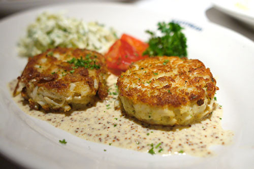 Jumbo lump crab cakes, with Pommery mustard sauce and coleslaw
