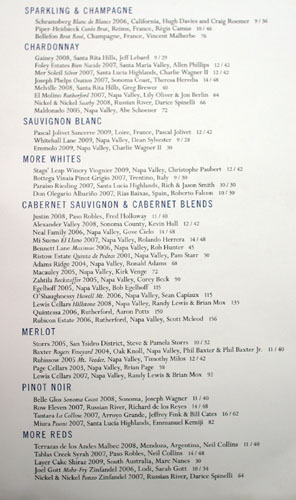 Gulfstream Wine List