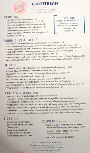 Gulfstream Dinner Menu