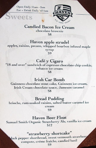 Haven Gastropub Dessert Menu
