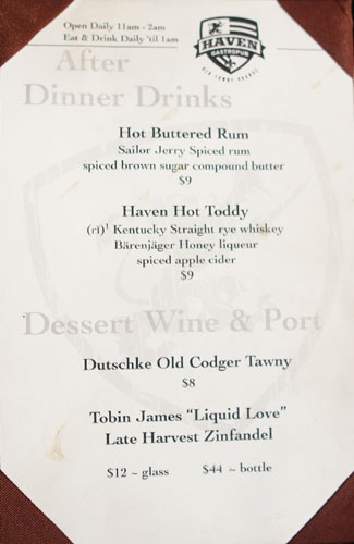 Haven Gastropub After-Dinner Drink Menu