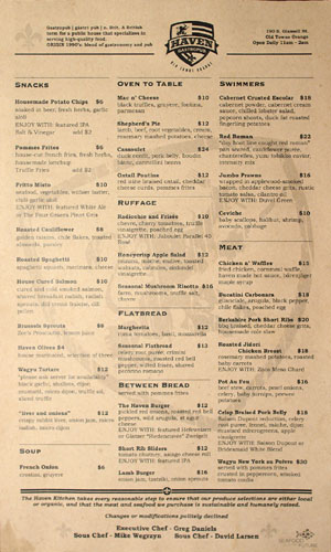 Haven Gastropub Menu