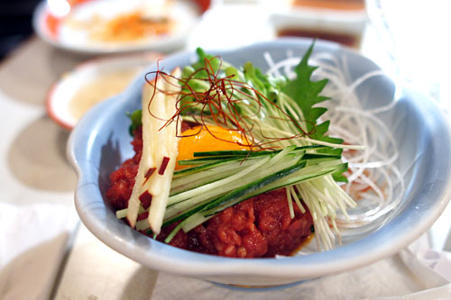 Marinated Raw Beef with Egg Yolk