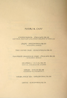 Pan Am Room Menu