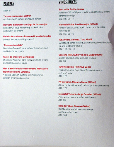 Jaleo Dessert & Sweet Wine Menu