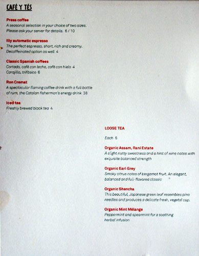 Jaleo Coffee & Tea Menu