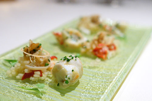 Butter Poached King Crab with Giant Clam, Green Papaya Salad, Caviar Lime and Fresh Yuzu