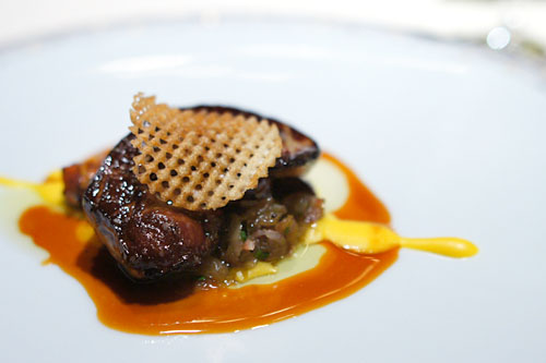Sauté of Sonoma Foie Gras with Sweet Potato Caramelized Onions, Black Truffles and Butternut Squash Saucec