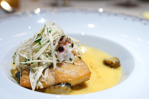 Filet of Wild Turbot, with Abalone, Hearts of Palm, Cuttlefish, Sea Urchin and Chateau Chalon Sauce