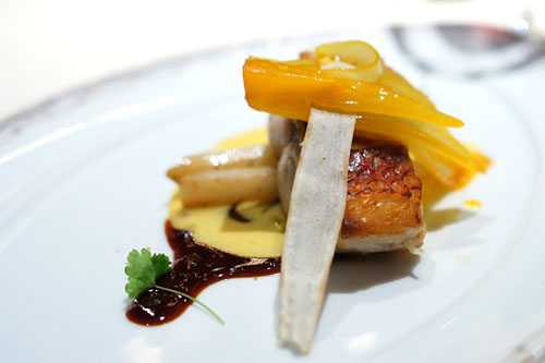 Hawaiian Ruby Snapper with Orange Braised Endive, Roasted Salsify and Citrus Red Wine Sauce