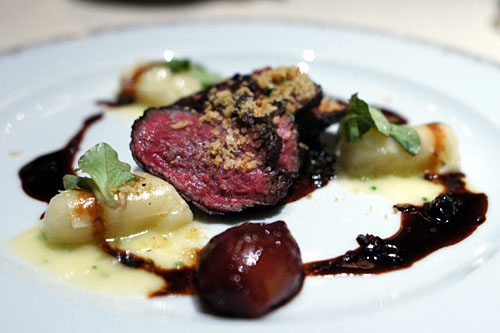 Snake River Farms Wagyu Beef with Potato Gnocchi, Aged Parmigiano and Porcinis in Red Wine Sauce
