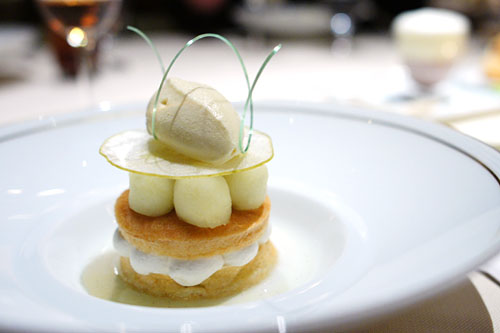Vanilla Butter Poached Apple Cream Puff with Maple Ice Cream