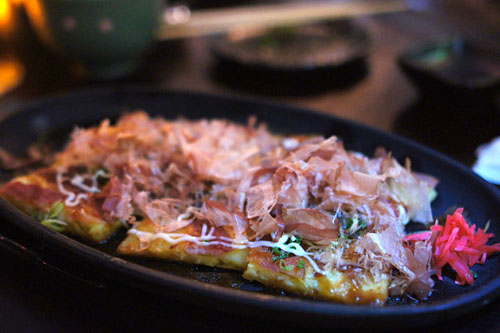 Pork and vegetable okonomiyaki pancake
