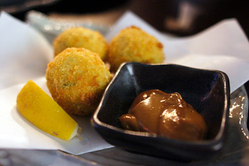 Takana croquette of mashed potato and mustard leaf