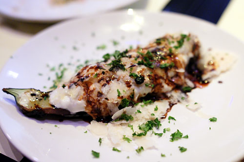 grilled Japanese EGGPLANT WITH BURRATA AND PARMESAN