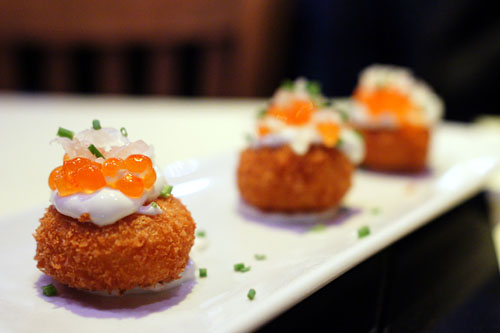 trio of SMOKED SALMON CROQUETTES with salmon caviar
