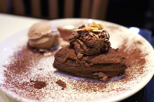 Flourless Valrhona Chocolate Souffl Cake with coffee gelato