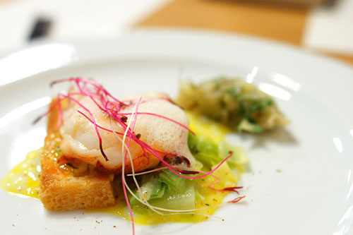 Butter Poached Lobster, Warm Egg & Caviar Salad, Leeks, with Fennel Jam, Onion Froth