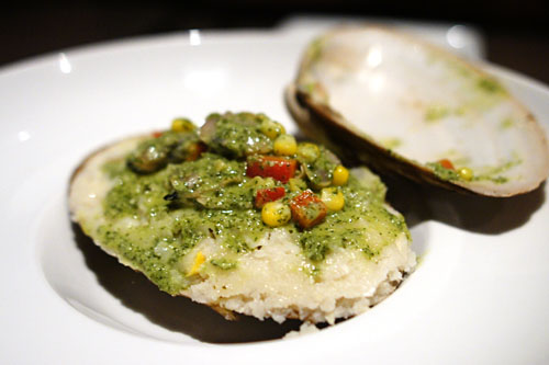 Humitas, Baja surf clam, red bell pepper, queso ranchero, fresno chiles, chives, lime pesto