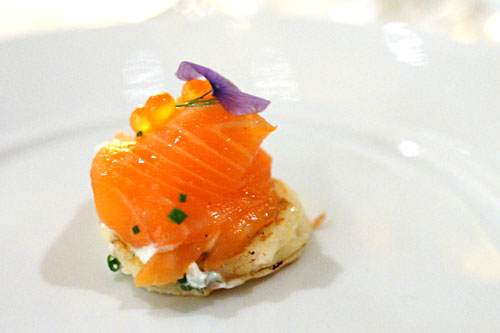 House-Smoked Salmon on a Lemon-Herb Blini