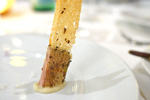 Pastrami-Cured Duck Liver Mousse with Rye Crisp