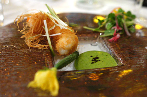 Crispy Phyllo-Wrapped Santa Barbara Spot Prawns with Cucumber Coulis