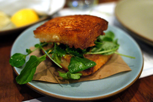 Shrimp toast sandwich, herbs, Sriracha mayo