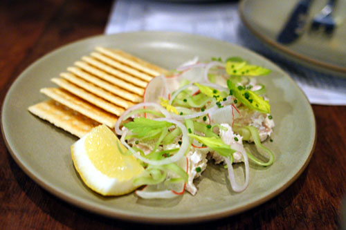 Smoked Mahi Fish Dip, Celery, Radish, Crackers