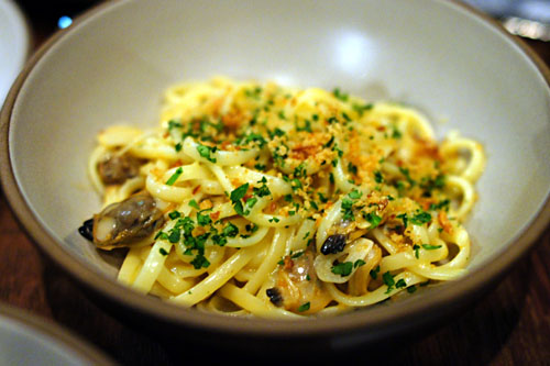 Linguine and Clams, Uni Aglio-Olio, Breadcrumbs