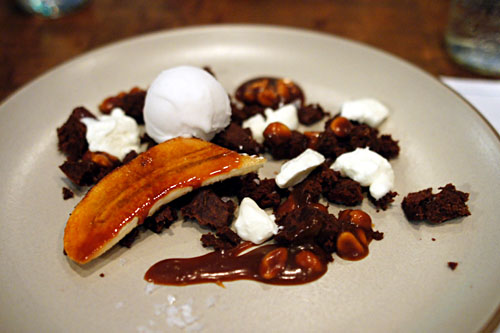 Flourless Chocolate Cake, Banana, Peanut, Coconut Ice Cream