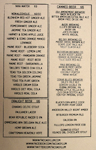 Taco Beverage Menu